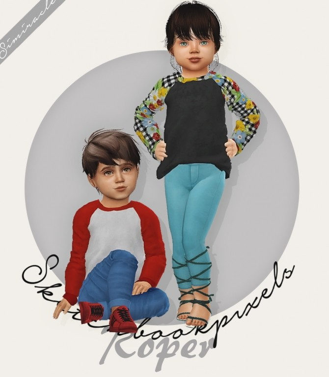 Sims 4 Sketchbookpixels Roper Shirt Toddler Version 3T4 at Simiracle