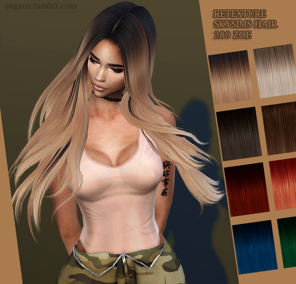 Skysims 280 Zoe hair retexture at Angissi image 1346 Sims 4 Updates