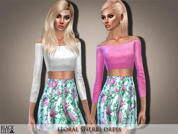 Sims 4 Floral Sherri Dress by Black Lily at TSR