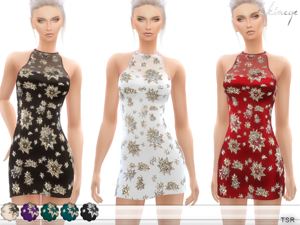 Sims 4 Sequin Embellished Dress by ekinege at TSR