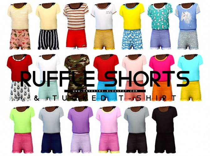 Ruffle Shorts & Tucked T at Onyx Sims image 1472 670x497 Sims 4 Updates