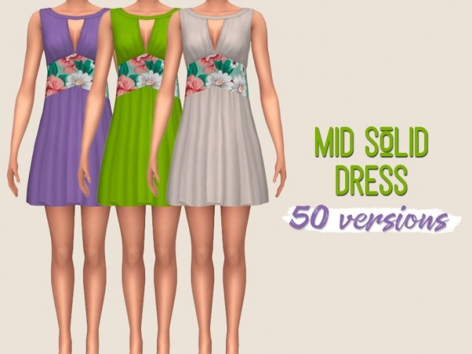 Sims 4 Mid solid dress at Midnightskysims