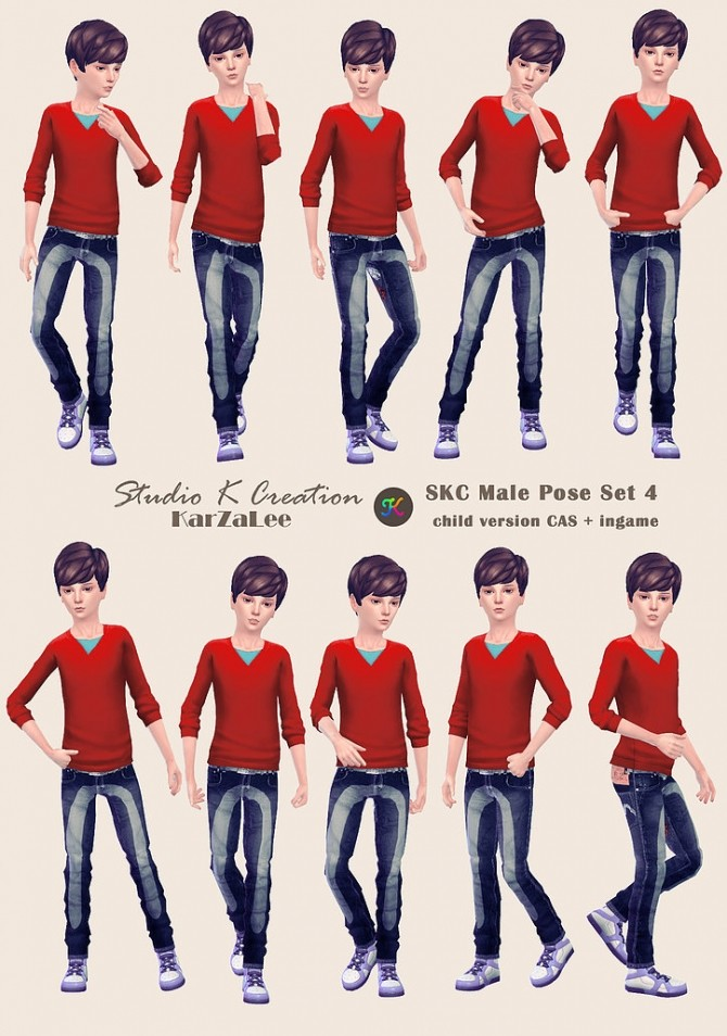 SKC Male Pose Set 4 Child version at Studio K Creation image 1551 670x954 Sims 4 Updates