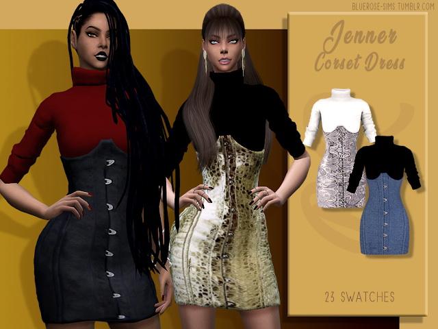 Sims 4 Jenner Corset Dress by Liseth Barquero at BlueRose Sims