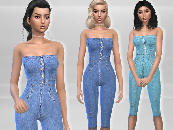Strapless Denim Jumpsuit by Puresim at TSR image 1716 Sims 4 Updates