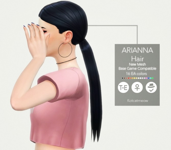 Sims 4 Arianna hair at KotCatMeow