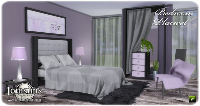 Sims 4 Placwel bedroom at Jomsims Creations