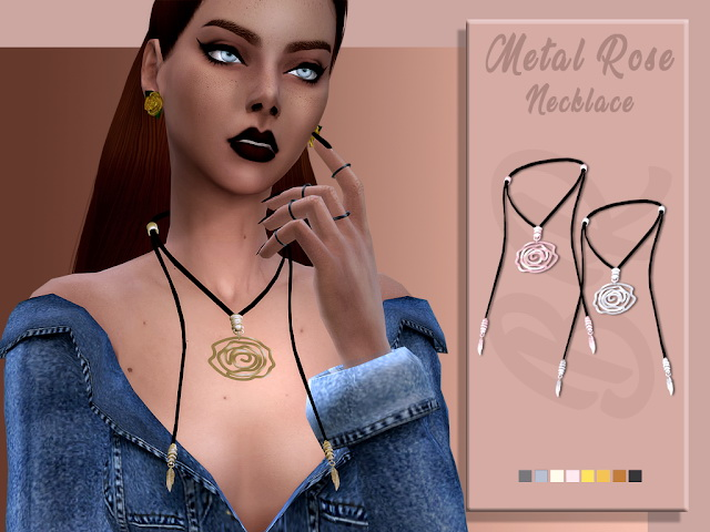 Sims 4 Metal Rose Necklace by Liseth Barquero at BlueRose Sims