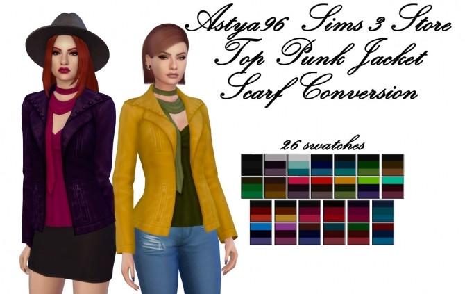 Sims 4 Top Punk Jacket Scarf Conversion at Astya96