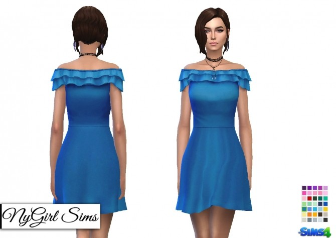 Off Shoulder Ruffle Skater Dress at NyGirl Sims image 1972 670x474 Sims 4 Updates