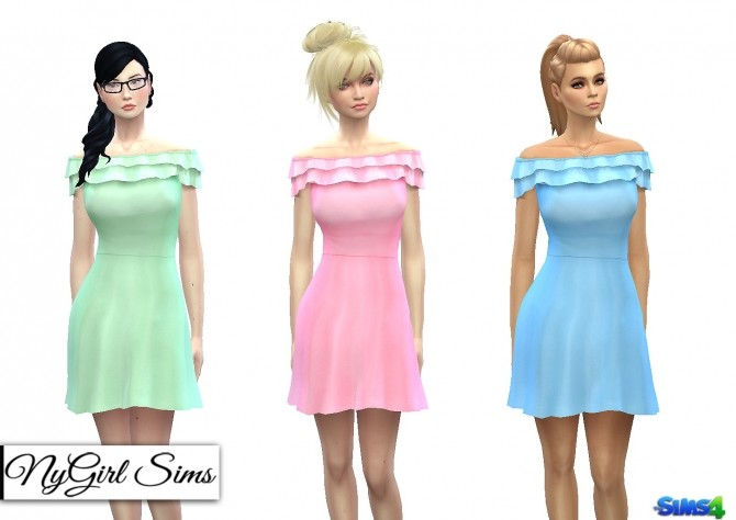 Off Shoulder Ruffle Skater Dress at NyGirl Sims image 1991 670x474 Sims 4 Updates