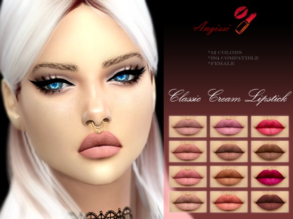 Sims 4 CLASSIC CREAM LIPSTICK by ANGISSI at TSR
