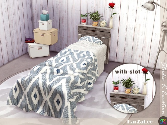 Sims 4 SKC wooden single bed at Studio K Creation