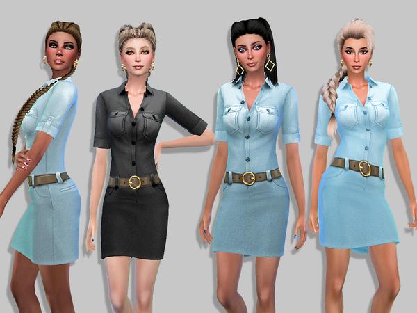 Fanny denim dress by Simalicious at TSR image 2105 Sims 4 Updates