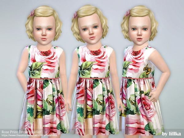 Rose Print Dress Toddler by lillka at TSR image 2117 Sims 4 Updates