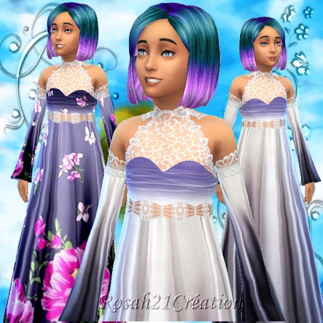 Sims 4 Long dress for girls at Sims Dentelle