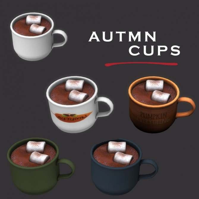 Sims 4 Autumn Cups at Leo Sims