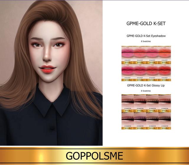 Sims 4 GOLD K Set Glossy Lip & Eyeshadow (P) at GOPPOLS Me
