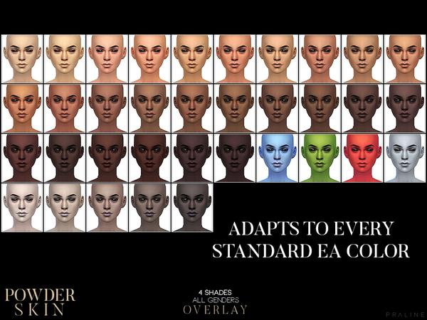 Sims 4 PS Powder Skin Overlay by Pralinesims at TSR