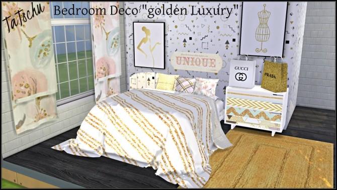 Sims 4 Golden Luxury Bedroom Deco at TaTschu`s Sims4 CC