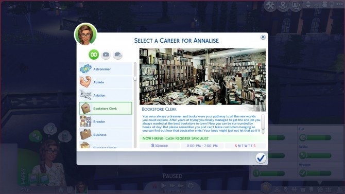 Sims 4 Bookstore Clerk Part time Career by kittyblue at Mod The Sims
