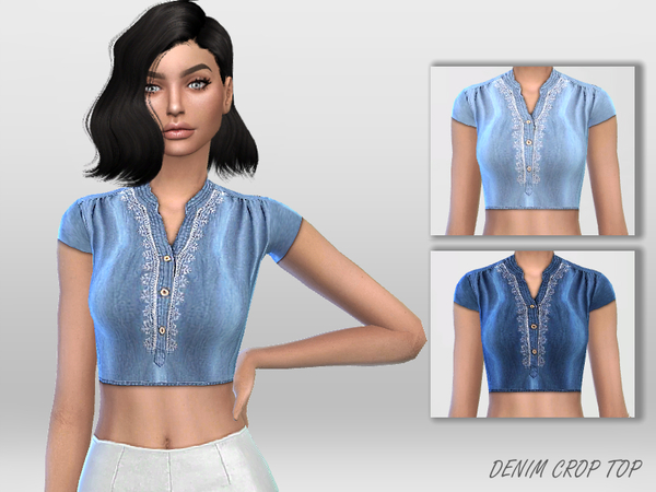 Denim Crop Top by Puresim at TSR image 2322 Sims 4 Updates