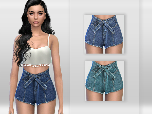 Tie Front Denim Shorts by Puresim at TSR image 2323 Sims 4 Updates