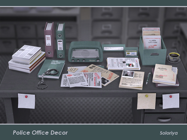 Sims 4 Police Office Decor by soloriya at TSR