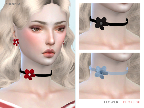 Sims 4 Flower Choker by ChloeMMM at TSR