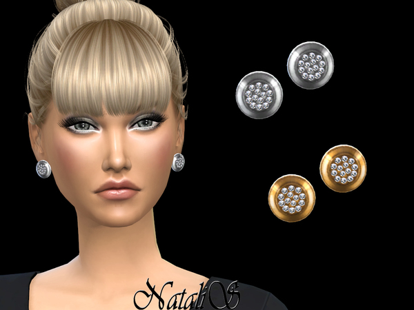 Round stud earrings with crystals by NataliS at TSR image 2614 Sims 4 Updates