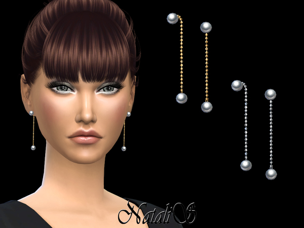 Sims 4 Double pearl chain earrings by NataliS at TSR