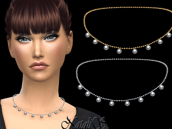 Sims 4 Multi pearls pendant necklace by NataliS at TSR