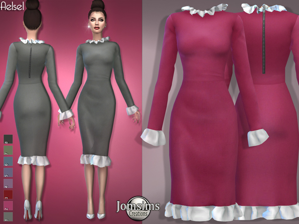 Sims 4 Aelsel dress by jomsims at TSR