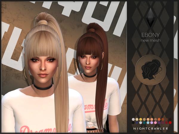 Sims 4 Ebony hair by Nightcrawler at TSR