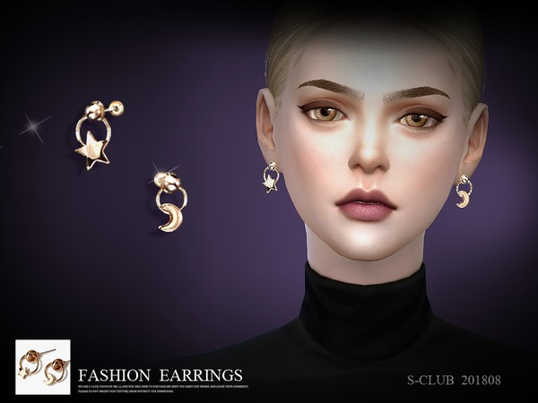 Sims 4 Earrings 201808 by S Club LL at TSR