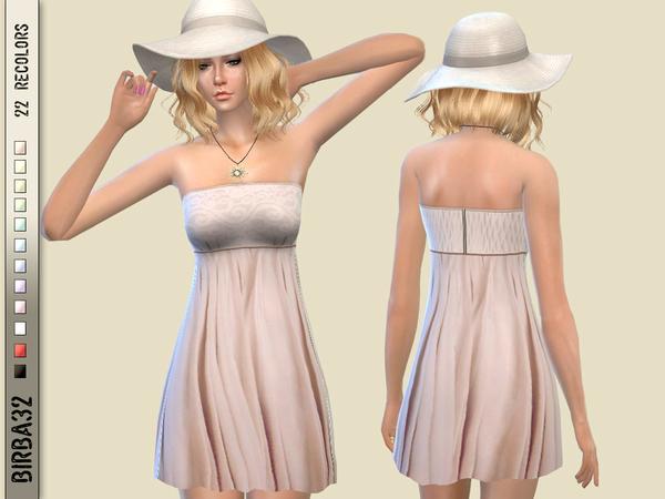 Sims 4 Summer dress no sleeves by Birba32 at TSR