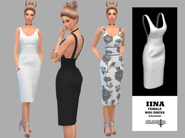 Sims 4 IINA Midi Dress by Helsoseira at TSR