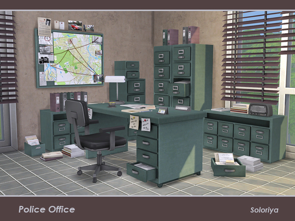Sims 4 Police Office by soloriya at TSR