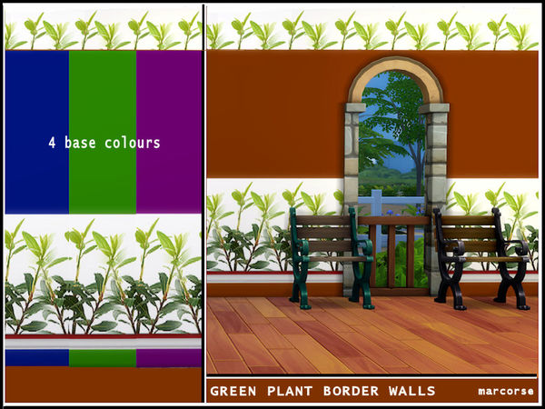 Green Plant Border Walls by marcorse at TSR image 3213 Sims 4 Updates