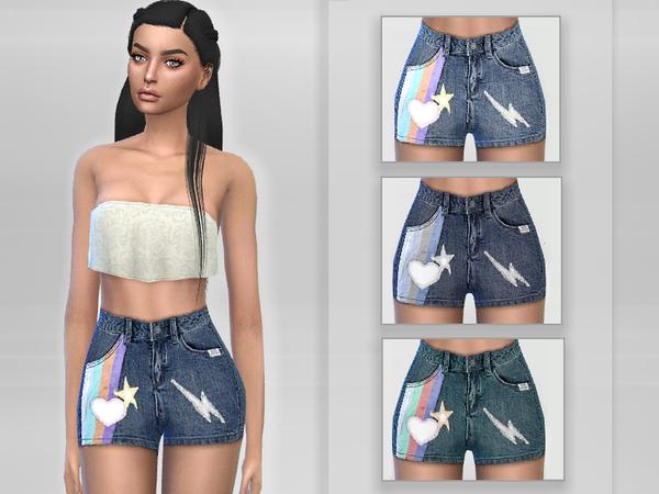 Sims 4 Designer Denim Shorts by Puresim at TSR