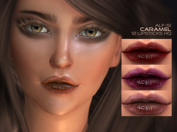 Sims 4 Caramel Lipstick N3 HQ by Alf si at TSR