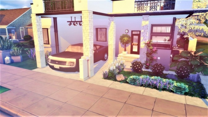 Sims 4 White modern by the river house at Agathea k