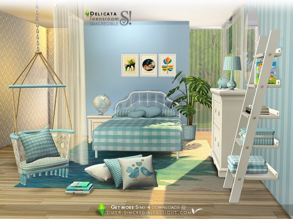 Sims 4 Delicata teen bedroom by SIMcredible at TSR