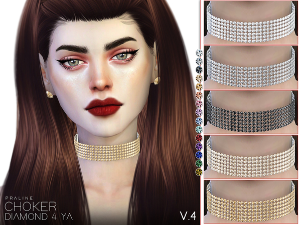 Sims 4 Diamond 4 Ya Choker Set by Pralinesims at TSR