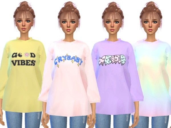 Over sized Tee Shirts by Wicked Kittie at TSR image 418 Sims 4 Updates