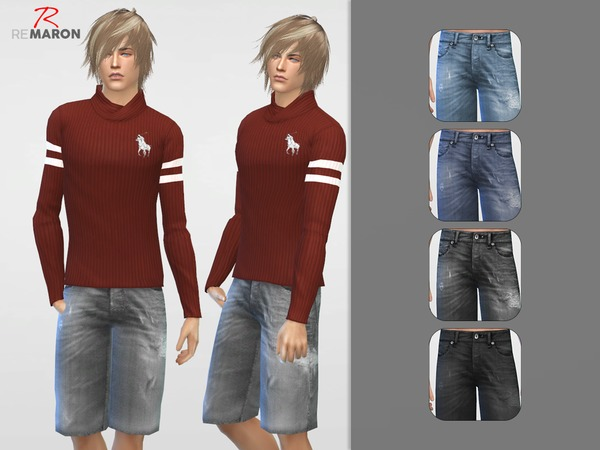 Denim shorts for men by remaron at TSR image 429 Sims 4 Updates