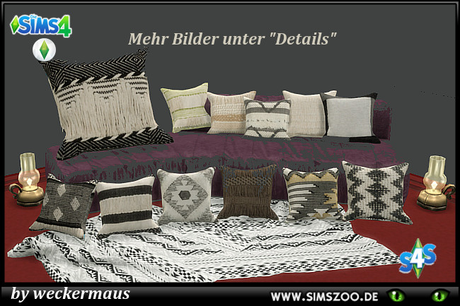 Trend Nomad Chic pillows by weckermaus at Blacky's Sims Zoo image 452 Sims 4 Updates