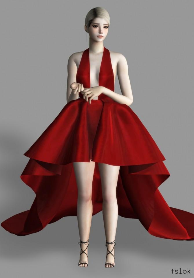 Dawn satin high low dress at TSLOK image 474 670x961 Sims 4 Updates