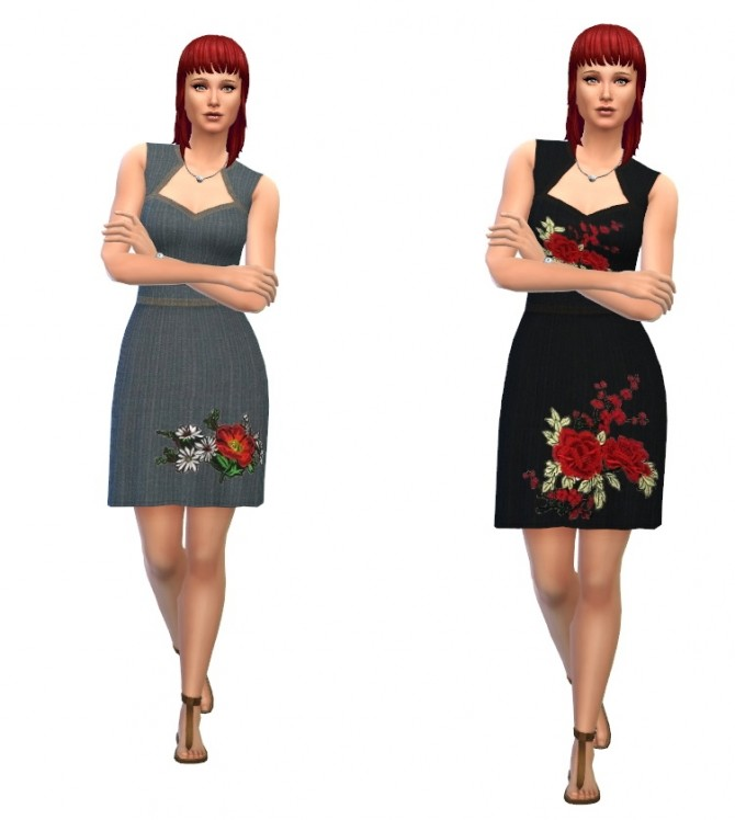 Floral embroidered dress at Louisa Creations4Sims image 481 670x748 Sims 4 Updates