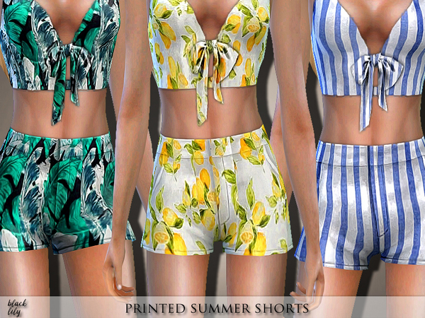 Printed Summer Shorts by Black Lily at TSR image 5018 Sims 4 Updates